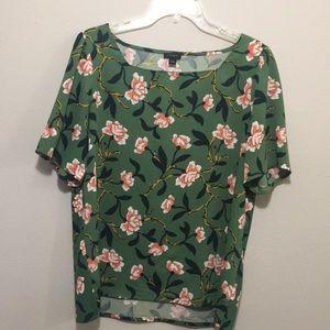 Ann Taylor Factory Short Sleeve Floral Blouse